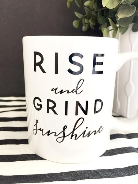 "Get up and get going with this super cute ""Rise & Grind"" coffee mug. If…"