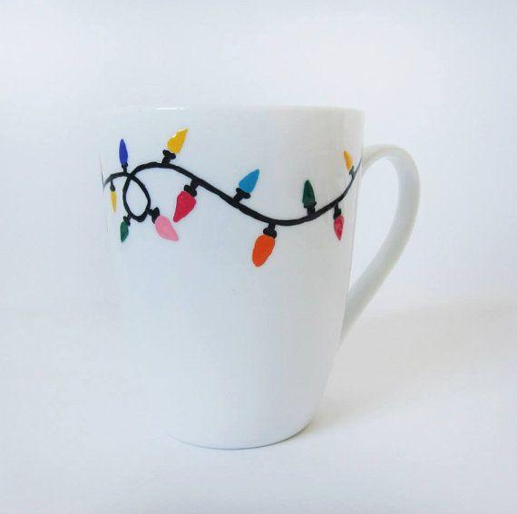 """Christmas Mug - Hand painted White Ceramic Mug, """"Christmas lights"""""""