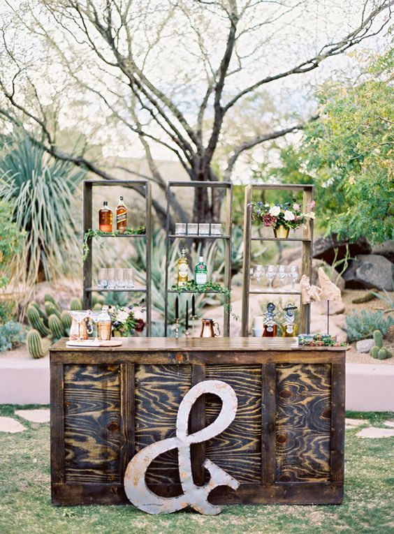 rustic outdoor wedding bar area / http://www.deerpearlflowers.com/ideas-for-rustic-outdoor-wedding/