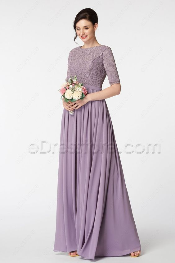 496acbc16c Wisteria Purple Modest Bridesmaid Dress with Elbow Sleeves in 2019 ...