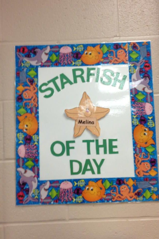 Ocean-themed 'starfish of the day' sign for Grade two classroom.
