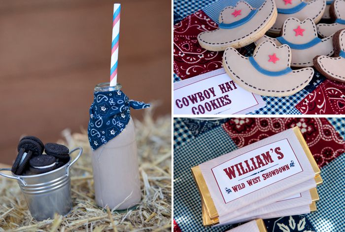 Cookies in little tin bucket and milk with bandanas!! So cute!! Love this whole page full of cowboy/western party ideas!!