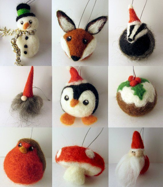 Set Woodland Felt Christmas Tree Ornaments/ Woodland Christmas Baubles/ Rustic Christmas decorations/ Christmas Tree ornament/ Needle felt