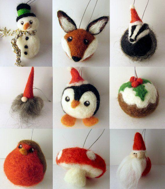 Set Woodland Felt Christmas Tree Ornaments/ Woodland Christmas Baubles/ Rustic Christmas decorations/ Christmas Tree ornament/ Needle felt