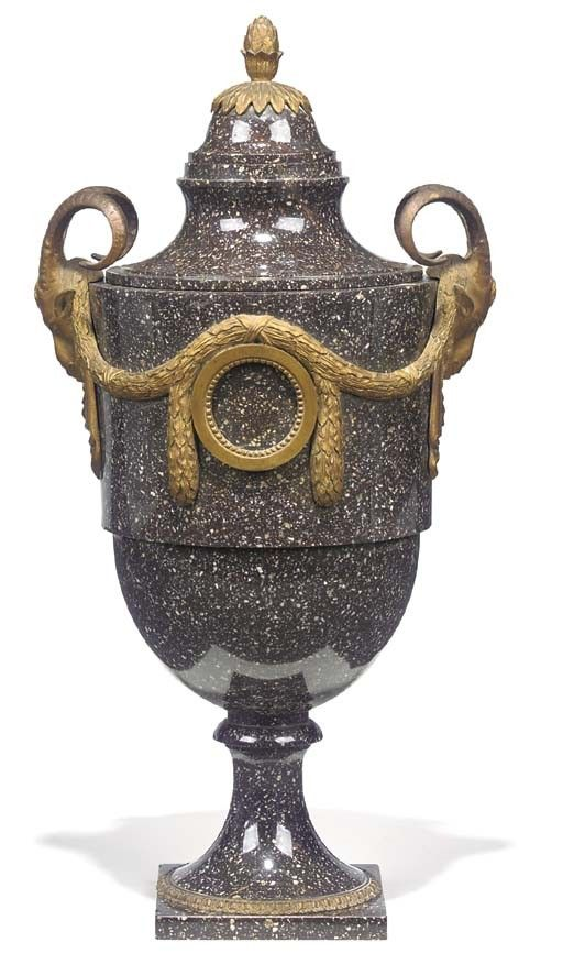 A Swedish porphyry gilt-bronze mounted urn