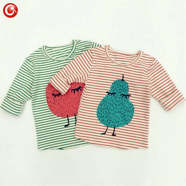 2016 Lente BOBO CHOSES Pinda Patroon Kids Cartoon Katoen Lange Mouw T-shirt KIKIKIDS Baby Tops Baby Meisje Kleding Jongen Kleding