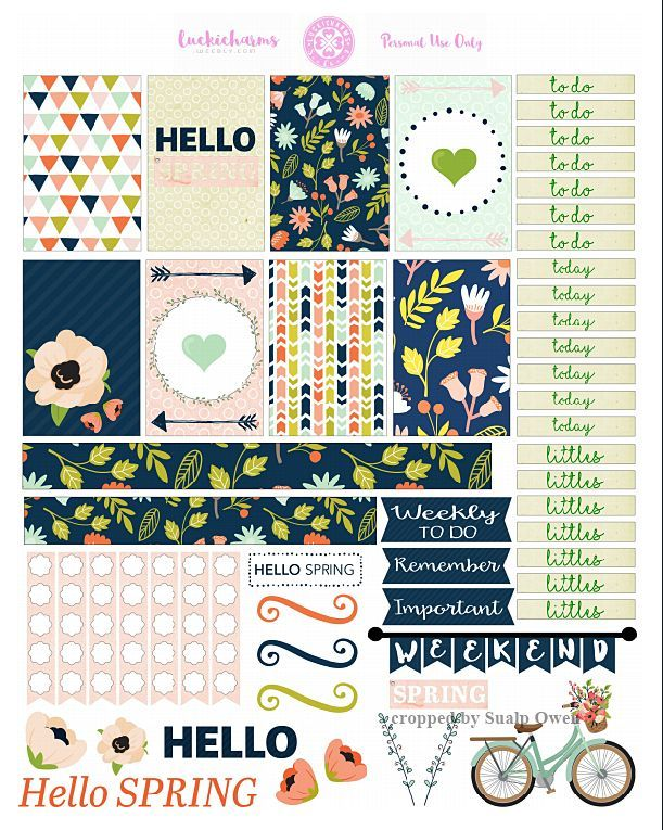 FREE Hello Spring Planner Stickers by Lucki Charms
