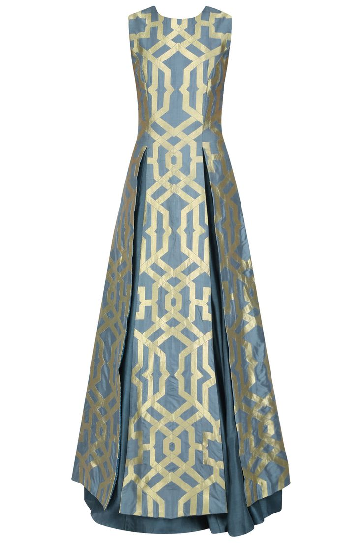 Teal thick line brocade high slit kurta and lehenga set available only at Pernia's Pop Up Shop.