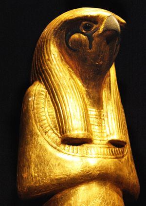 A statue of the Egyptian god Horus