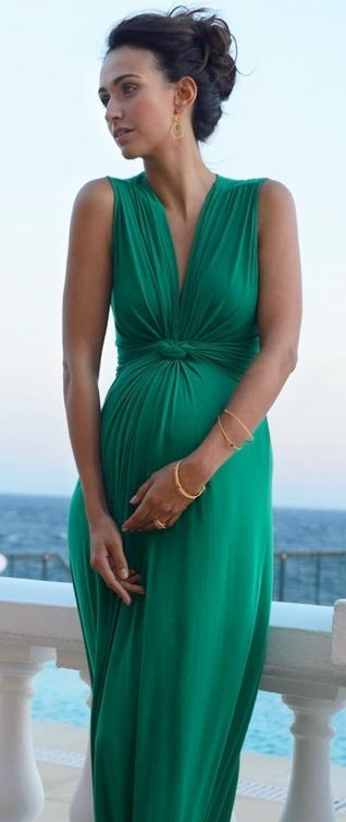 The perfect maternity dress for wedding guest http://www.seraphine.com/emerald-sleeveless-maxi-knot-dress.html
