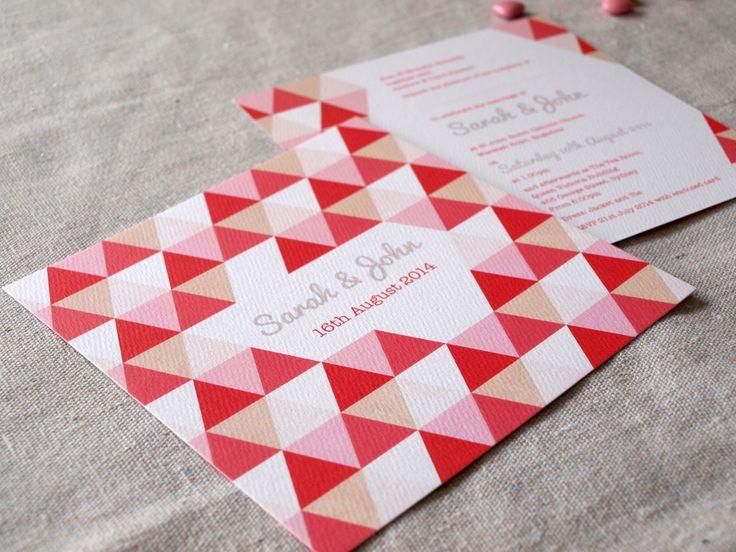 Geometric Wedding invitation, triangles | Sweet Whimsy | Alannah Rose http://www.alannahrose.com.au/shop/category/wedding-stationery