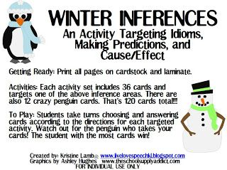 Winter Inferences and Upcoming Post!! — Live Love Speech -  Check out this post about activities that focus on idioms, making predictions and cause and effect. Click through for the complete details.