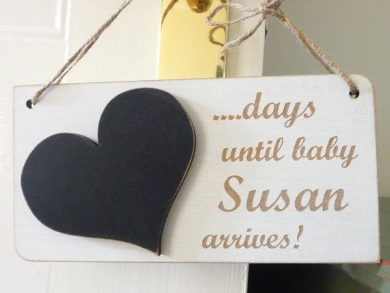 Personalised Baby Countdown Sign Custom Countdown to Baby by Crafu
