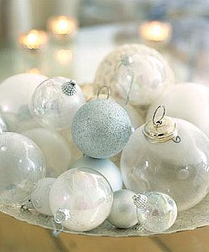 Ornaments on Tray, clear, white, silver