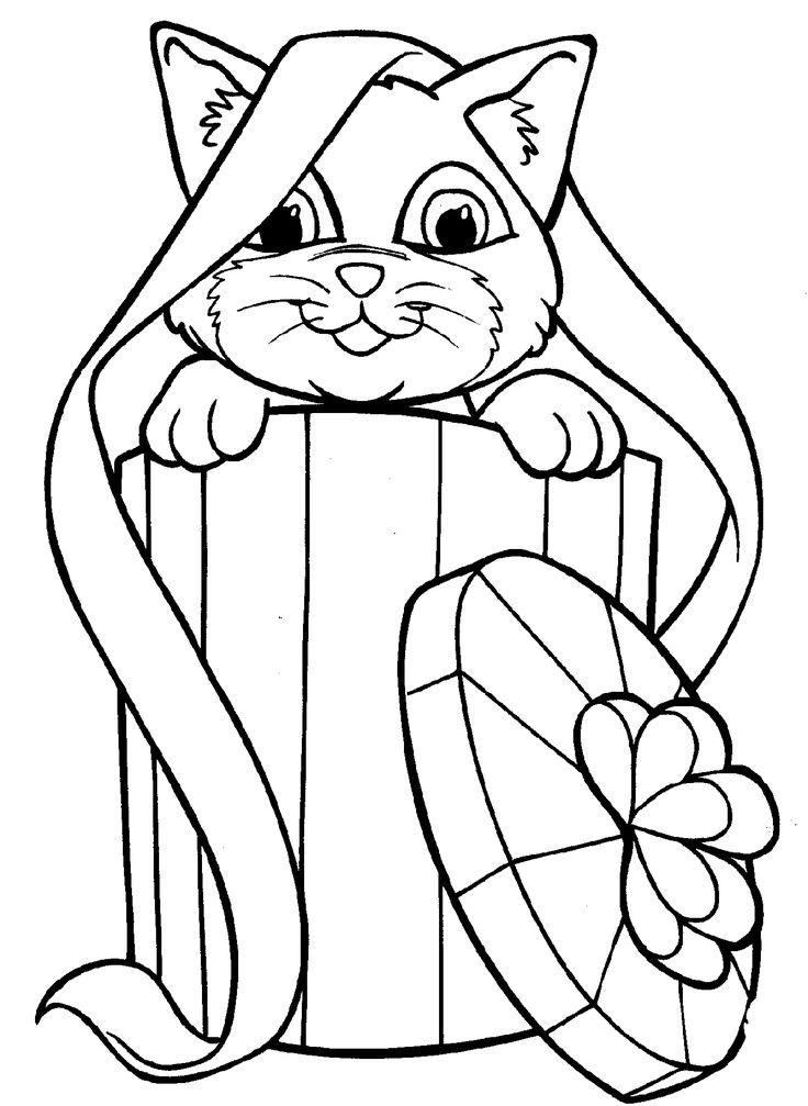 kitten coloring pages basket