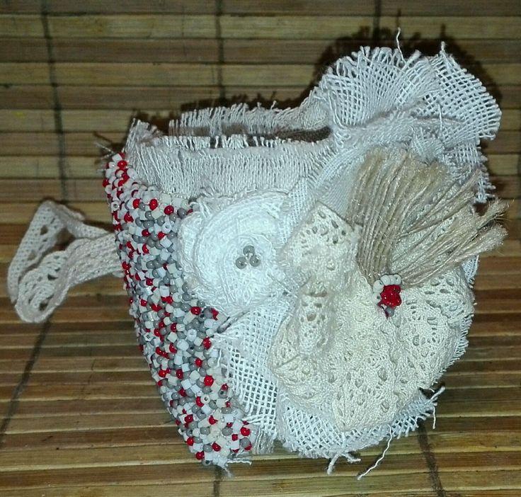 Купить Текстильный браслет в стиле Бохо, расшитый бисером - льняной браслет, текстильный браслет, браслет