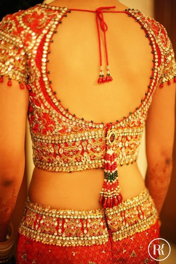 Oh, what a stunning red gold lehenga. Do you love the blouse? #Frugal2Fab