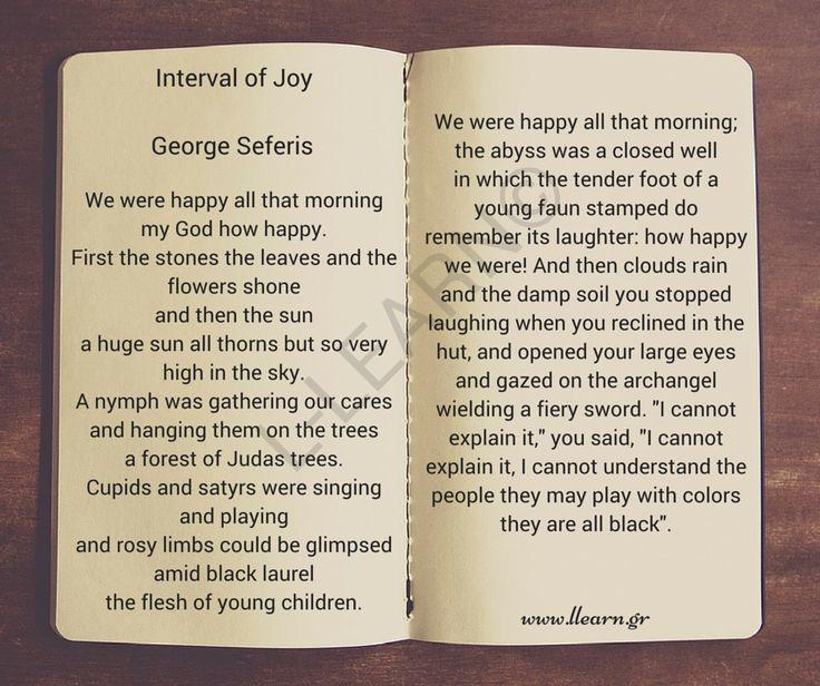 George Seferis - Interval of Joy.  #Greek #language #poems #poetry