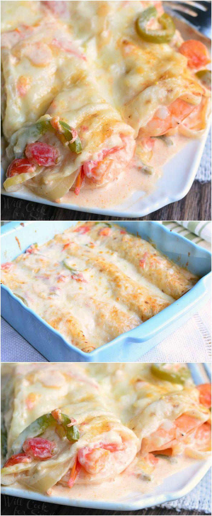 Spicy Creamy Shrimp Enchiladas   from http://willcookforsmiles.com #dinner #enchilada #seafood
