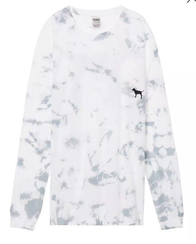 31a36b214ef0b NEW Victoria s Secret PINK Long Sleeve Campus Tee Glacier Grey Tie Dye XS   VictoriasSecretPINK  LongSleeveTee