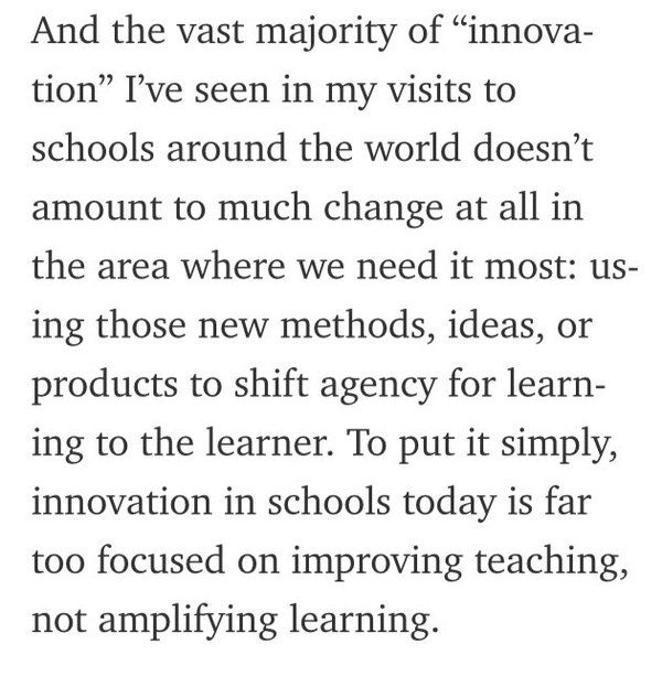 """""""Innovation in schools is far too focused on improving teaching, not amplifying learning"""" - @justintarte, retweeted by @RebeccaFayWRDSB - March 24, 2016 - I hope to create an environment that innovation is for the students' learning, where the main goal to motivate them to learn something and carry on this passion for innovation later on."""