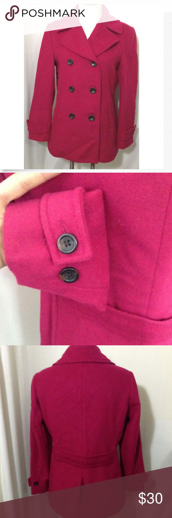 """LANDS END WOMENS PeaCoat Jacket Small Wool Pink 6 BEAUTIFUL LANDS END WOMENS JACKET PeaCoat Jacket Small Wool 100% Pink 6 P  Excellent Condition  2 inner pockets  65% wool  Measurements  pit to pit 20"""" length 26.25"""" arm length from shoulder 22.5"""" waist 18.75"""" Lands' End Jackets & Coats Pea Coats"""
