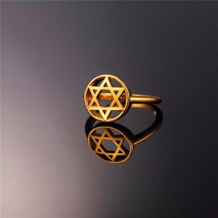 Round Seal Of Solomon Star Of David 18K Gold Plated Gp Men Women Size 6-11 Ring