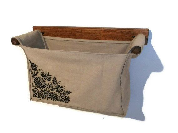 Wall Hanging Organizer With 1 Bin Beige Colour Linen Cotton And Embroidered Hungarian Motif In The Corner