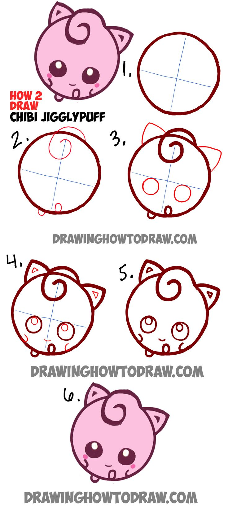 Learn How to Draw Cute Baby Chibi JigglyPuff from Pokemon in Simple Step by Step…