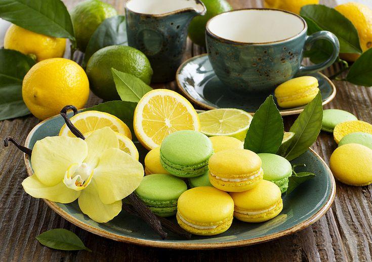 Macarons citron jaune et vert