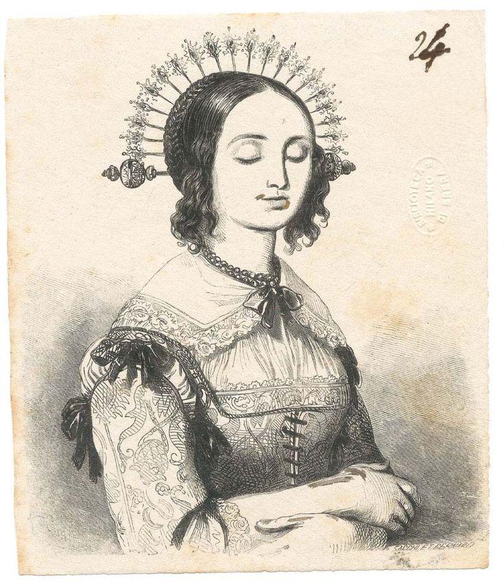 """Lucia Mondella ( bozze delle illustrazioni per l'edizione de """"I Promessi sposi"""" del 1840 / n. 024)"""