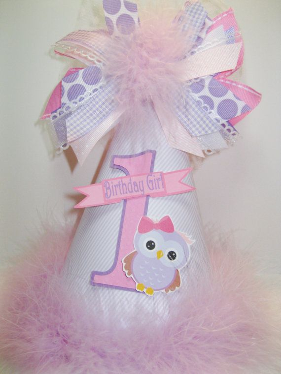 Personalized Lavender & Pink Owl  Birthday Party Hat