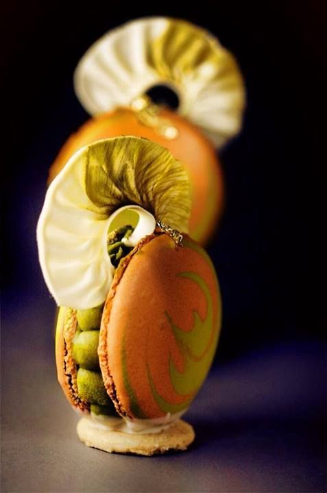 Matcha and orange passion macarons