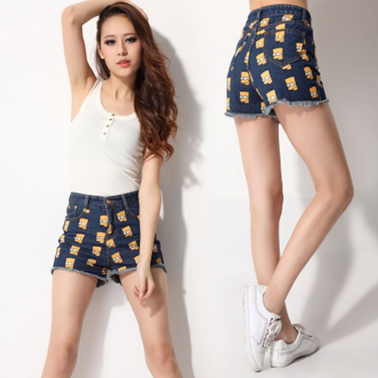Novo 2016 Mulher Calções Moda Simpson Padrão de Impressão de Cintura Alta Shorts Jeans Quentes Shorts Jeans c3133 em Calções de Das mulheres Roupas & Acessórios no AliExpress.com | Alibaba Group