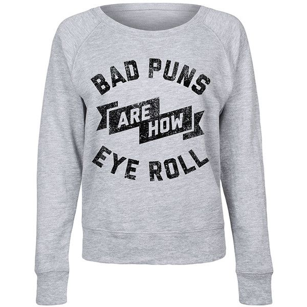 LC Trendz Women's Athletic Heather 'Bad Puns' Slouchy Pullover ($25) ❤ liked on Polyvore featuring tops, plus size, plus size tops, womens plus size tops, sweater pullover, flat top and slouchy tops
