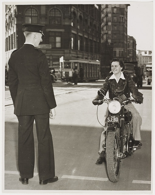 Female motor cyclist, Railway Square, Sydney, n.d., by Ted Hood.    Find more detailed information about this photograph: http://acms.sl.nsw.gov.au/item/itemDetailPaged.aspx?itemID=52721  From the collection of the State Library of New South Wales www.sl.nsw.gov.au