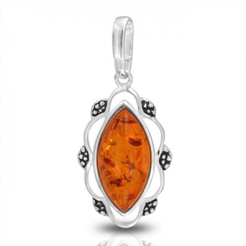 Vintage Style Marquise Honey Amber Gemstone Pendant Sterling Silver