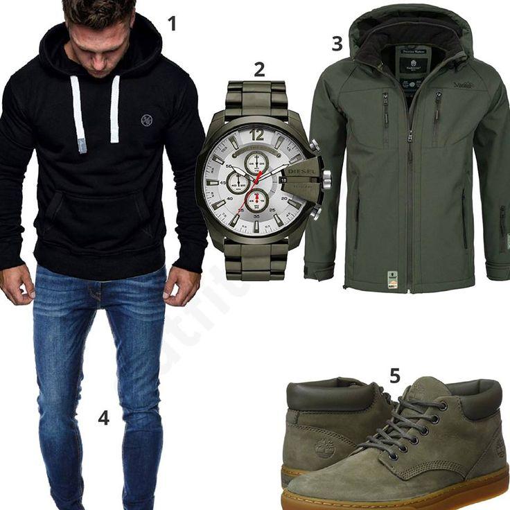 Herrenoutfit mit grüner Jacke, Schuhen und Uhr – Kitani Hunter