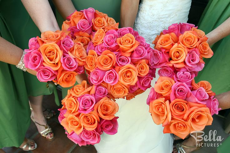 Bright pink and orange wedding bouquets