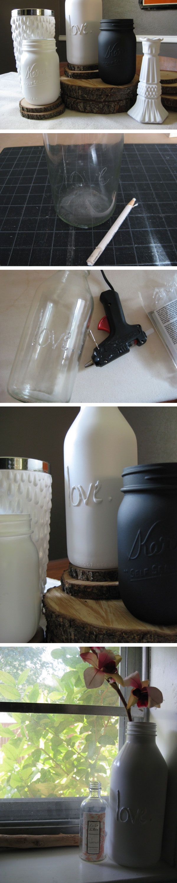 Beautiful jars, customized with glue from a glue gun and then painted