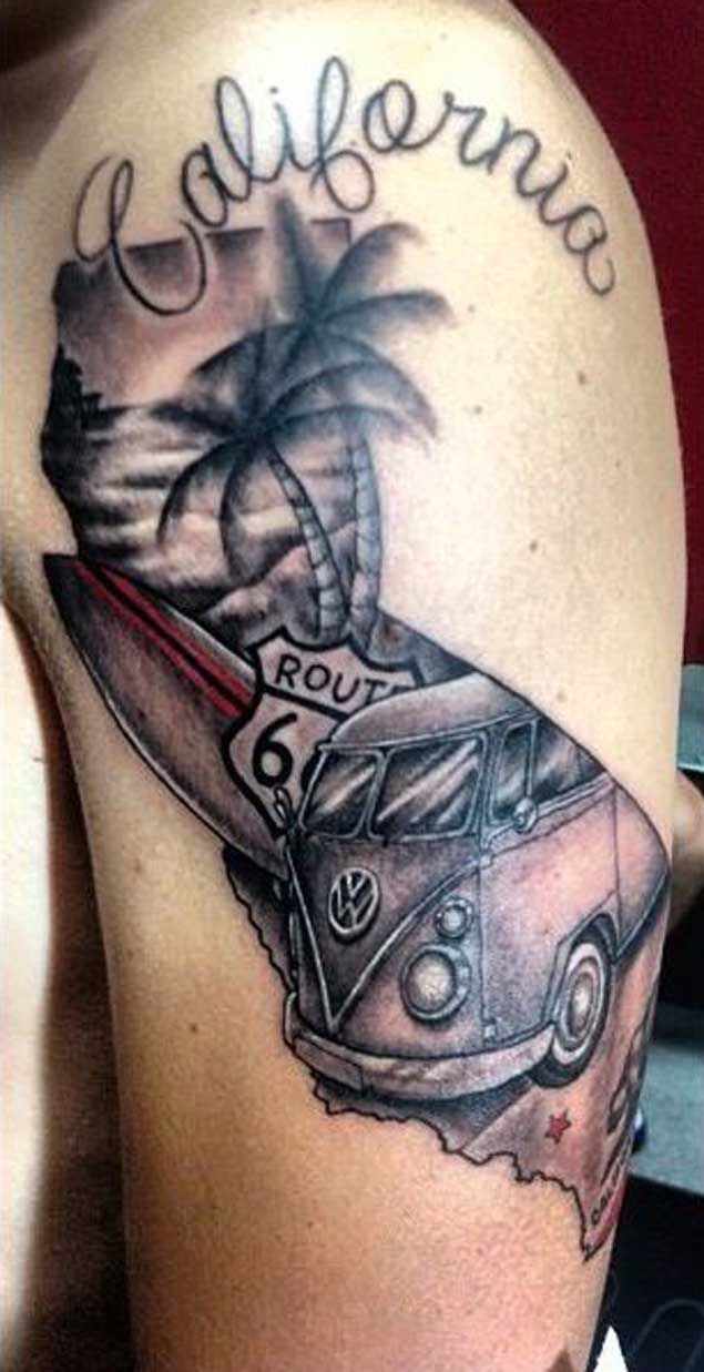 California Surfer Tattoo