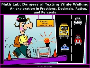 I am very pleased and excited to share my math lab on Texting While Walking. * Teachers will surely find that the lab is useful in reinforcing lessons on fractions, ratios, percents, and decimals, while at the same time, students learn safety in texting habits. *.