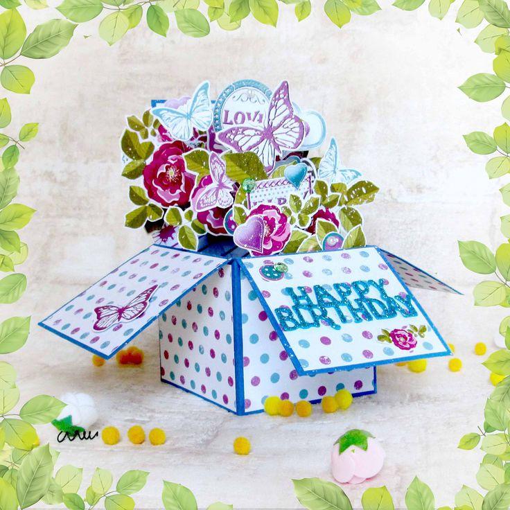 flower pop up box 'happy birthday' beautiful designer pop