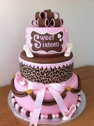 Sweet 16 taart roze met panterprint