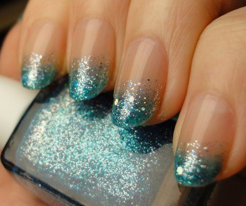 sparkly againNails Art, French Manicures, Nails Design, Glitter Nails, Gradient Nails, Glitter Tips, Nails Polish, Sparkly Nails, Blue Nails