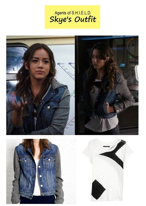 hooded jean jacket, colorblock tee, and dark jeans (agents of shield Skye aka Chloe Bennet)