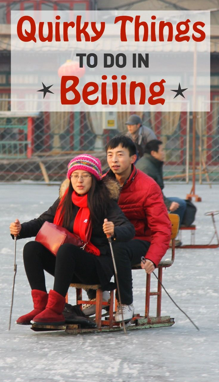 Quirky Things to do in Beijing, China, especially while traveling there in winter! Pictured here: ice skating in Beijing.