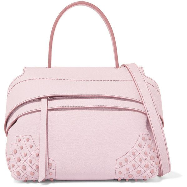 Tod's Wave mini studded textured-leather tote ($1,995) ❤ liked on Polyvore featuring bags, handbags, tote bags, pink, polka dot tote bag, zippered tote bag, mini tote, pink tote bags and zip tote bag