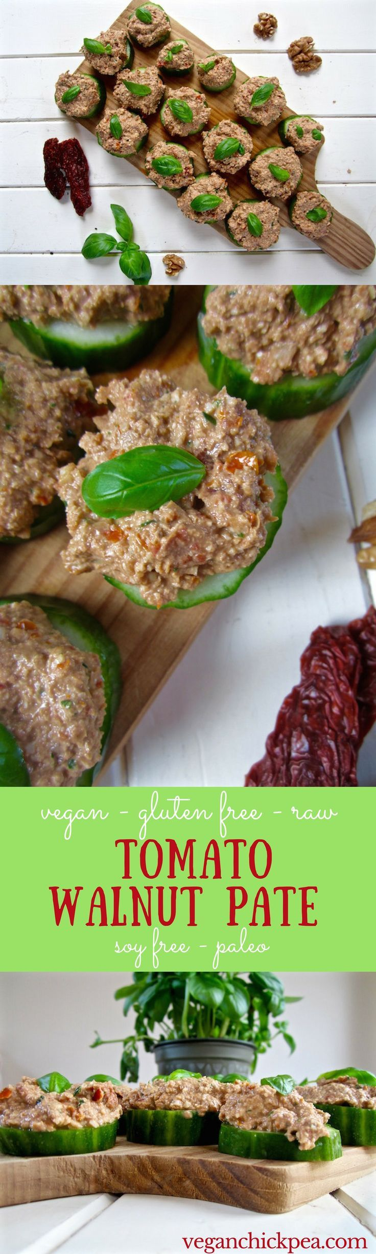 Tomato Walnut Pate recipe - an easy vegan appetizer, especially in the summer! Serve on cucumbers or crackers. {raw, paleo, soy & gluten free} | http://veganchickpea.com