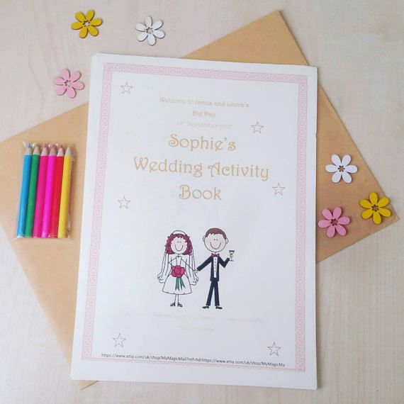 PRINTABLE Personalised Wedding Day Childrens Activity Pack  A fun 11 page wedding day activity pack designed to keep the children entertained on your big day. With a Personalised front cover (bride and groom name, wedding date, wedding colours) - these can be changed to suit your wedding decor   All pages are fun and designed to interest children. We recommend for children aged between 2-11 years. Ideal for both boys and girls Print onto A4 paper. Each pack has been designed to be very print…